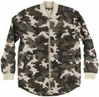 Elwood Mens Curved Hem Scoop Bottom Flight Bomber Jacket Camo Zipper Lightweight
