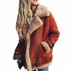 Damen Winter Bikerjacken Lammfelljacke Outdoorjacke Parka Pelzjacke Fleecejacken