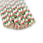 25pcs Colors Striped Paper Drinking Straws Mixed For Party Decorations