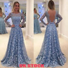 Women Backeless Lace Evening Party Ball Prom Gown Cocktail Wedding Long Dress