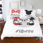 Home Bedroom Quilt Cover Pillowcase Cartoon Mickey Mouse I Love You Bedding Set image