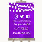 Wedding Sign Poster Print Purple Watercolour Lights Social Media Hashtag Photos
