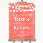 Wedding Sign Poster Print Coral Watercolour Lights Informal No Seating Plan