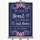 Wedding Sign Poster Print Navy Blue Pink  Silver Stole Last Name