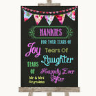Wedding Sign Poster Print Bright Bunting Chalk Hankies And Tissues