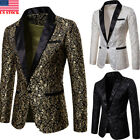 Mens Suit Coat Casual Slim Formal One Button Blazer Jacket Tops Fashion Casual