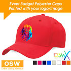 50 X CUSTOM/PERSONALISED PRINTED EVENT BUDGET POLYESTER PROMOTIONAL 6-PANEL CAPS
