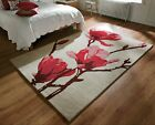 LARGE THICK BEIGE RED PINK FLOWER WOOL & VISCOSE CHUNKY PILE ELEGANCE BUD RUG