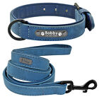 Real Leather Personalized Dog Collar and Leash Set Engraved Dog Name Plate L XL