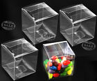 25/50pcs Wedding Favour Sweet Cake Gift Candy Box Transparent PVC Cube Gift Bags
