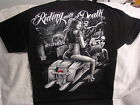SKELETON SEXY WOMAN MOTORCYCLE HOLLYWOOD RIDING WITH THE DEATH T-SHIRT SHIRT