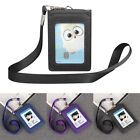Lanyard ID Holder Wallet Badge Neck Strap Leather Credit Card Business 5 Slot