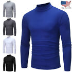 Mens Autumn Winter Pullover Polo Neck Turtleneck Long Sleeve T-shirt Top Blouse image
