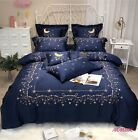 100%Egyptian Cotton Gold Stars Moon Embroidery Royal Duvet Cover Bedding Set UPS image