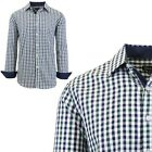 Mens Long Sleeve Slim-Fit Dress Shirts Pinstripe Checkered Gingham Patterned NEW