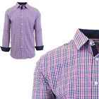 Mens Long Sleeve Slim-Fit Dress Shirts Pinstripe Checkered Gingham Patterned NEW фото