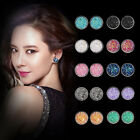 Fashion Women Druzy Earrings Natural Stone Quartz Silver Plated Small Ear Stud image