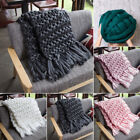 Soft Comfy Solid Hand Chunky Knit Blanket Thick Yarn Wool Bulky Bed Spread Throw image