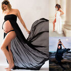 Maternity Chiffon Off Shoulder Front Split Pregnancy Gown Maxi Photography Dress