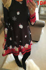 UK Size 6-20 Womens Xmas Christmas Santa Long Sleeves Ladies Reindeer Paty Dress