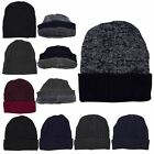 New Men's Knitted Faux Fur Lining Warm Simple Bobble Hat Winter Beanie