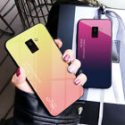 For Samsung Galaxy A6 A7 A8 Plus 2018 Gradient Tempered Glass Luxury Cover Case