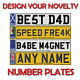 PERSONALISED NUMBER PLATE FOR DOORS , WALL, WINDOWS DOORS ..TRUCKS KIDS TOYS