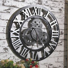 Large Wall Clock Antique 3D Gear Retro Roman Numerals Silent Sweep 12 16 inch