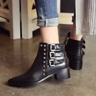 New Women's Pointy Toe Buckle strap Rivet Ankle Boots Low Heels Fashion Shoes sz