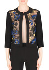 Joseph Ribkoff Black Blue Embroidered Mesh 3/4 Sleeve Cover Up Jacket 183573 NEW