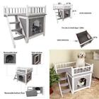 Wooden Pet Crate House Cage With Large Gate Stairs And Balcony For Dogs  Cats