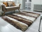 THICK LONG PILE BRONZE BEIGE BROWN CREAM WAVES STRIPED SHAGGY SANTA CRUZ RUG