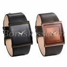 Men's Simple Casual Leather Strap Square Dial Quartz Analog Wrist Watch Watches image