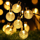 50 LED Solar Fairy String Lights Crystal Ball Bulbs Outdoor Garden Xmas Party 7M