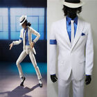 Michael Jackson Smooth Criminal Cos White Suit Uniform Mens Cosplay Costume HH