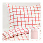 IKEA Lisel Duvet Quilt Cover Pillow Cases Full Queen White Red Poly/Cotton NEW image
