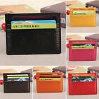 Mens Womens Genuine Leather Small Id Credit Card Wallet Holder Slim Pocket Case image