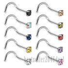 10PCS 18G Surgical Steel Round CZ L Bend Nose Stud Rings Screw Piercing Jewelry image