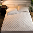Natural Combed Cotton Mattress Pad Fitted Hypoallergenic Quilted Breathable New image
