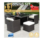 11 Pc 4 Pc Outdoor Dining Set Rattan Wicker Garden Lounge Table Chairs Au