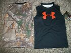 UNDER ARMOUR New NWT Boys Youth Shirt Tank Top Camo Realtree Orange Logo 5 6
