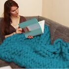Handmade Chunky Knitted Blanket Wool Thick Line Yarn Merino Throw Home Decor image