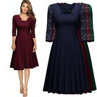 Women's Vintage Square Neck Floral Lace 2/3 Sleeve Cocktail Party Swing Dress