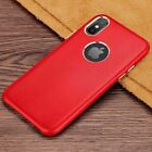 For iPhone XS Max X/XR/7 8+ Real Genuine Shockproof Slim Leather Hard Case Cover