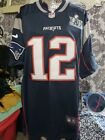 New England Patriots #12 Tom Brady Stitched Blue Jersey w Super Bowl Size M or L