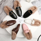 Womens Real Rabbit Fur Lined Slippers Casual Mules Leather Horsebit Shoes 2019