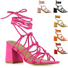 Womens Lace Up Sandals Low Mid Block Heel Ladies Strappy Caged Heels Shoes Size