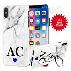 Personalised Marble Phone Case Cover & Finger Ring Stand For Top Mobiles 046-14