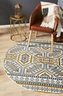 Flat-weave Cotton Printed Round Floor Area Rug Orbit Gold Abstract
