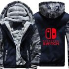 NINTENDO SWITCH Winter Hoodie Men Boys Zip Sweatshirt Thicken Warm Fleece Coat